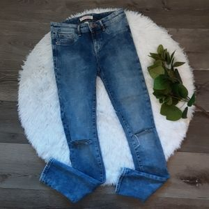 Refuge Acid Wash Distressed Skinny Jeans
